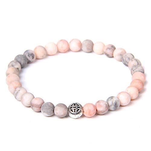 BroochshiWo Pulsera de piedra de 6 mm, piedra natural, turquesa, aventurina, fluorita, pulsera redonda de circonita, pulsera elástica para accesorios unisex, joyería de yoga, cebra rosa, 19 cm