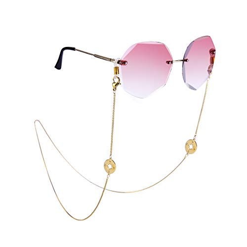 Amaxer Cadena de soporte para gafas con colgante de cordón para gafas de sol, correa para gafas de lectura, retenedor de acero inoxidable para mujeres y hombres Largo dorado