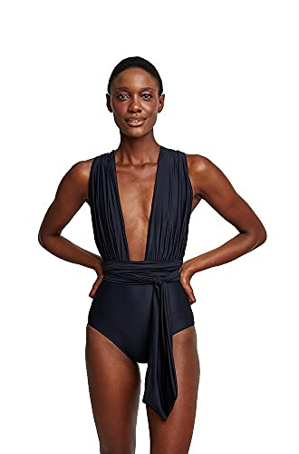 Lenny Niemeyer Black Chic Halter One Piece Swimsuit, Multi-Way Swimsuit, Biodegradable Lycra with SPF 50 Protection (L, l)