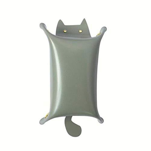 MAJFK Bandeja de almacenamiento portátil de piel sintética con forma de gato, organizador de monedas, bandeja de maquillaje para el hogar, caja de almacenamiento, color gris