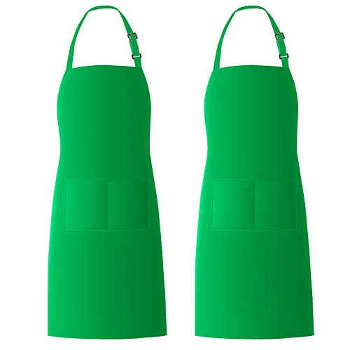 Xornis 2 Pack Bib Aprons with 2 Pockets Kitchen Apron Cooking Chef, Green