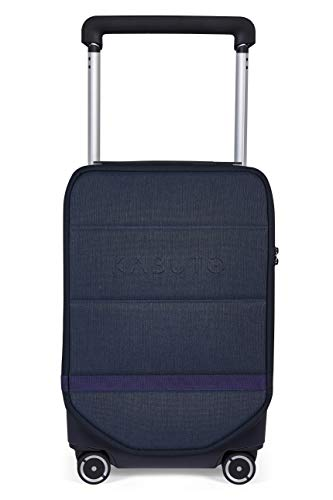 Carry-on I Kabuto 4x4 I 55 cm Vertically, Cabin Authorized Powerbank, Removable Laptop Compartments, Silent Wheels, TSA Fingerprint (Dark Blue Silver)