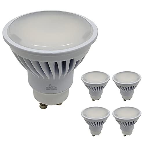 Pack 5x GU10 LED 8,5w Potentísima. Color Blanco Frío (6500K). 970 Lúmenes. Única con ángulo de 120 grados.