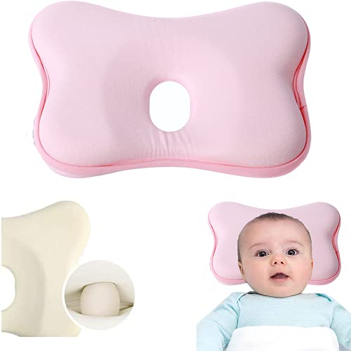 Almohada para bebé, cabeza plana, cojín de bebé, cojín de espuma con memoria, cojín pequeño para bebé, cojín hueco 3D, cojín para dar forma a la cabeza del bebé (rosa)