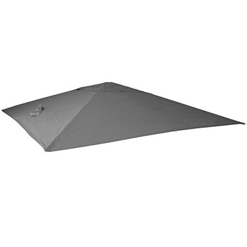 Mendler Bezug für Luxus-Ampelschirm HWC-A96, Sonnenschirmbezug Ersatzbezug, 3x3m (Ø4,24m) Polyester 2,7kg - anthrazit