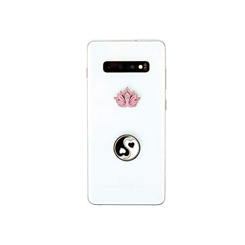 2 in 1 Yin Yang & Lotus Yoga Harmony & Peace Metal Stickers- Usable On All Phones, Laptops & Notebooks- Spiritual Charms- Show Balance and Tranquility- Easy to Stick on and Peel Off- 1