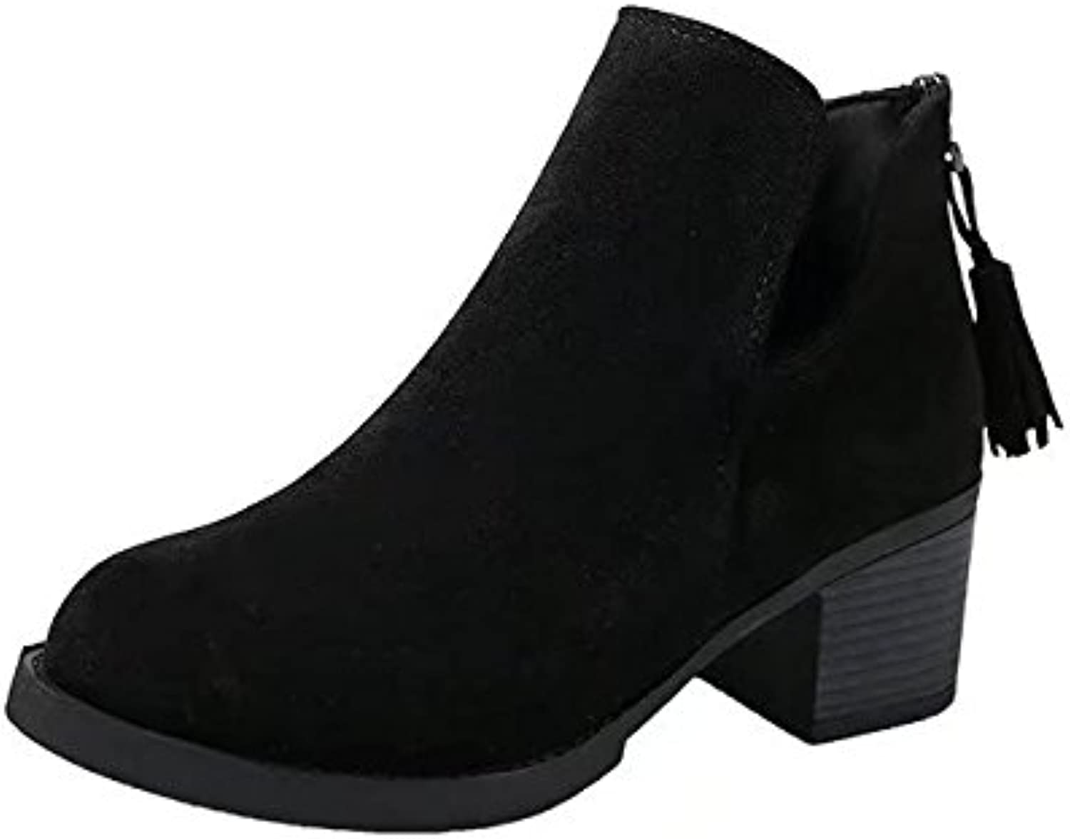 WYMBS Women's Rough With Martin Boots Autumn Winter Tassel Mid Heel shoes,Black,35