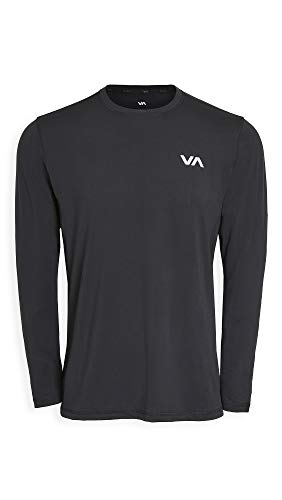 RVCA mens Sport Vent Long Sleeve Crew Neck T-shirt T Shirt, Black, Large US