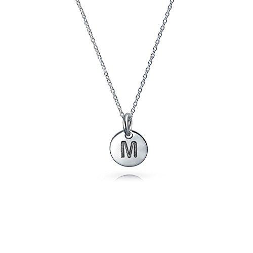 Pequeño Alfabeto Minimalista Disco Redondo Carta Bloque A-Z Colgante Collar Inicial Para Adolescentes Mujer 925
