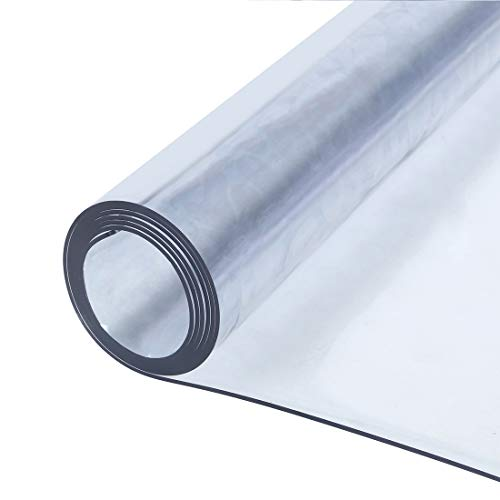 Coldshine 2mm Strong Clear Transparent PVC Tablecloth Table Protector Waterproof Covering Plastic for Waterproof, Desk Table Pads Soft Glass Dining Desk Mats Table Cloth(120X100cm