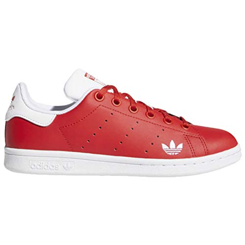 adidas Juniors Stan Smith J Low Shoes LUSRED,FTWWHT,LUSRED Size 4.5
