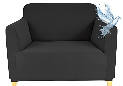 Funda Sofa 1 Plazas Impermeable Fundas para Sofa Elasticas Funda de Sofa Ajustables Antideslizante Protector Fundas Sofa, Gris Oscuro