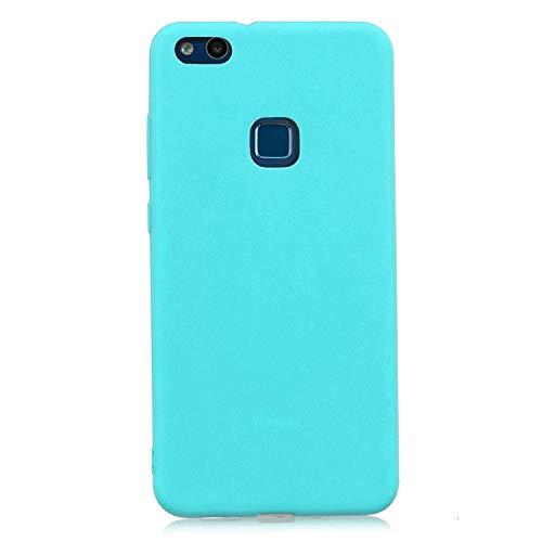 cuzz Funda para Huawei P10 Lite+{Protector de Pantalla de Vidrio Templado} Carcasa Silicona Suave Gel Rasguño y Resistente Teléfono Móvil Cover-Azul Claro