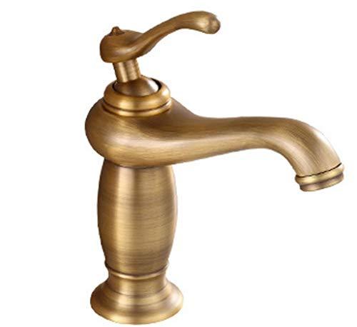 QXHELI Water Tap Kraan alle bekkens in landelijke retro bronzen belangrijkste wastafels te lezen & koude enkele gat kraan Main