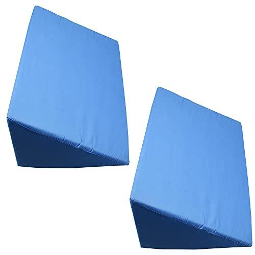 介護用 三角マット サポートクッション 枕 カバー取り外せる 洗濯可能 ストレッチ (2個セット ブルー)