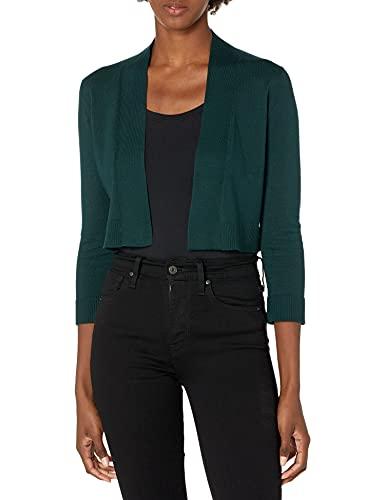 Calvin Klein Women's 3/4 Sleeve Knit Shrug, Malachite Knit, S