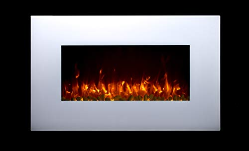 TruFlame 2020 NEW PREMIUM PRODUCT 36inch White Wall Mounted Electric Fire with 10 colour Flames (Pebbles, Logs and Crystals)!