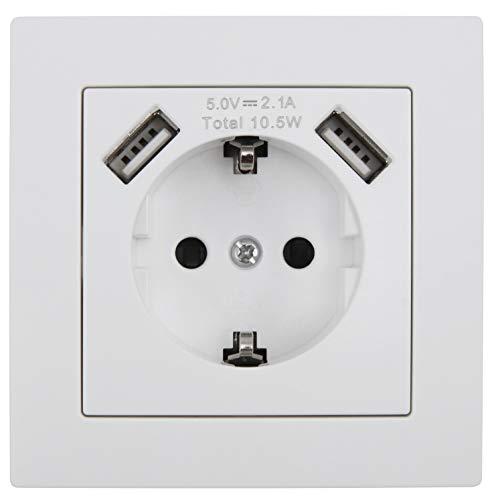 MC POWER - Schutzkontakt-Steckdose mit 2x USB McPower | FLAIR | 250V~/16A, 5V/2,1A, UP, weiß, matt