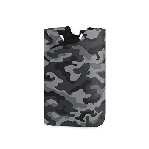 Ollabaky Large Foldable Laundry Hamper Bag with Handles, Army Camouflage Pattern Laundry Basket Box Big Storage Organizer for Family, Dormitory, Washhouse