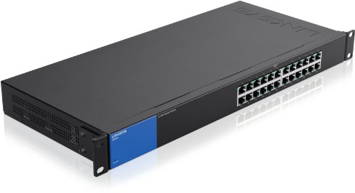 Linksys LGS124-EU - Unmanaged Switch Gigabit en Bastidor para Empresas (24 Puertos, detección automática, 1000 Mbps, optimización del Rendimiento, Plug and Play), Negro