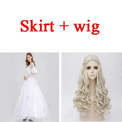 WSJDE Alice im Wunderland weiße Königin Cosplay Kostüm für Frauen Erwachsene weibliche Halloween-Kostüm Alice im Wunderland Kostüm Kleid Perücke LC