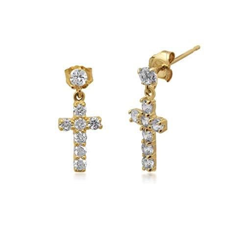 Jewelili 10K Yellow Gold Swarovski Cross Dangle Earrings