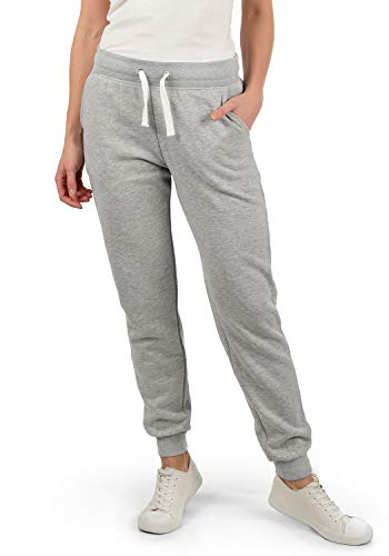 DESIRES Derby Damen Sweathose Sweatpants Relaxhose Mit Fleece-Innenseite Und Kordel Regular Fit, Größe:XL, Farbe:Light Grey Melange (8242)