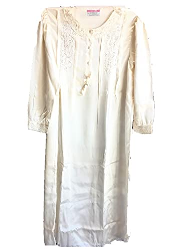 Linclalor Camicia da Notte Pura Seta 100% Ricamata a Mano it.48/de.44/RF.es.44/UK.40