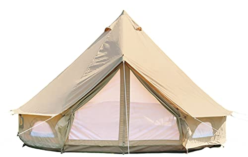 DANCHEL OUTDOOR 4-Season Waterproof Cotton Canvas Tent Bell Yurt Tents Family Glamping, 13ft=4M