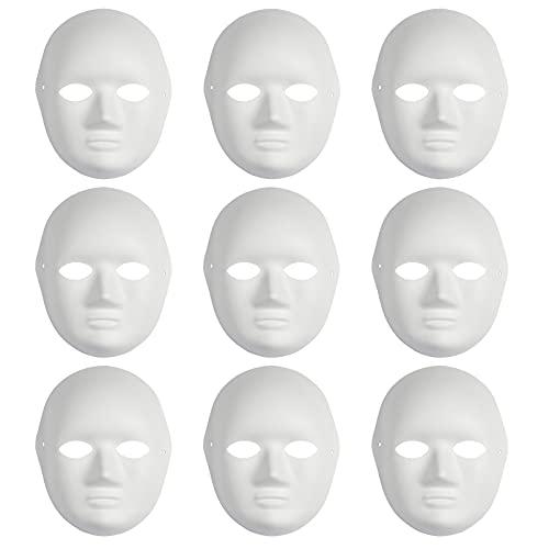 Yookat 9 Pieces DIY Full Face Masks Paper Mache Art Masks White Craft Masks Paintable Paper Mask Mardi Gras Masquerade Masks