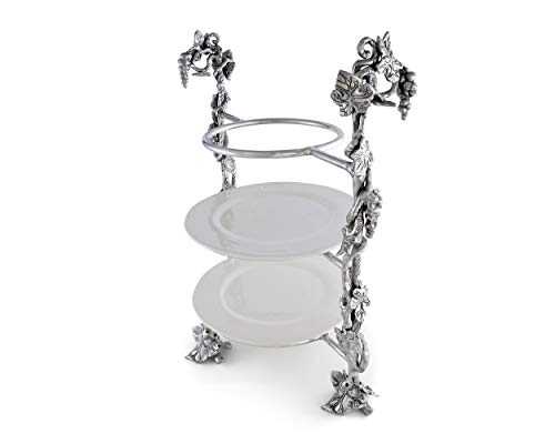 Arthur Court Designs Metal Grape Dinner Plate Caddy Grape Pattern Sand Casted in Aluminum with Artisan Quality Hand Polished Designer Tanish-Free 14 inch x 19 inch