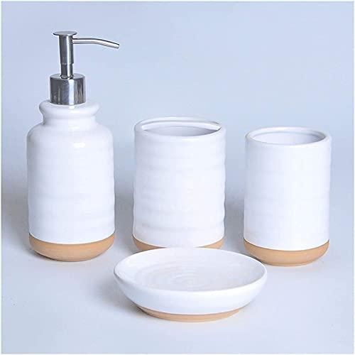 FGDFGDG Conjunto de 4/5/6 Accesorios de baños de cerámica Blanca con dispensador de jabón, dispensadores de jabón Manual de Soporte de Cepillo de Dientes,4 Piece