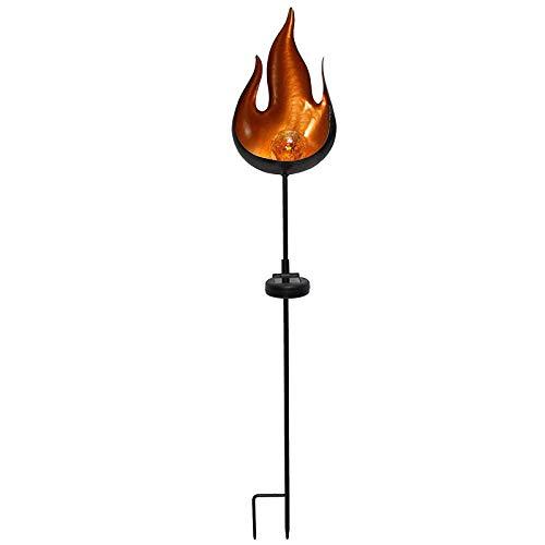 SIDCO Gartenstecker Solar Stecker Flamme Metall LED Glaskugel Gartendeko Garten Feuer