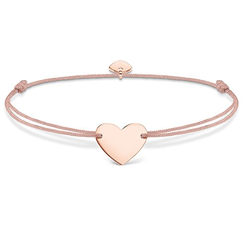 THOMAS SABO Damen Armband Little Secret Herz Herz Little Secret 925er Sterlingsilber; 750er Roségold Vergoldung, Nylon LS005-597-19