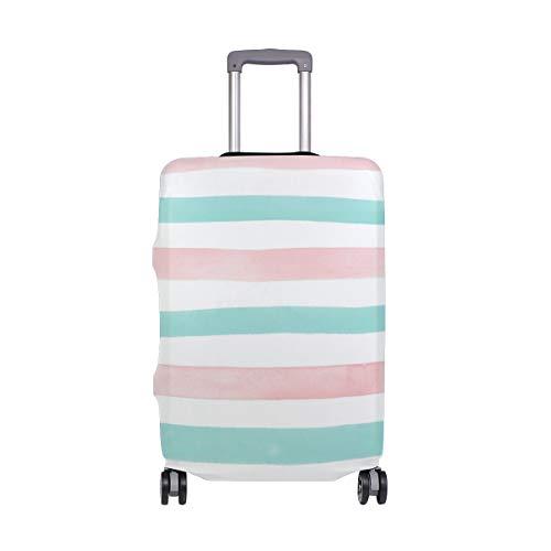 MyDaily Aquarell-Reisetasche mit Streifen in Hellblaugrün und Rosa für 45,7-81,3 cm Koffer, Spandex, Reiseschutz