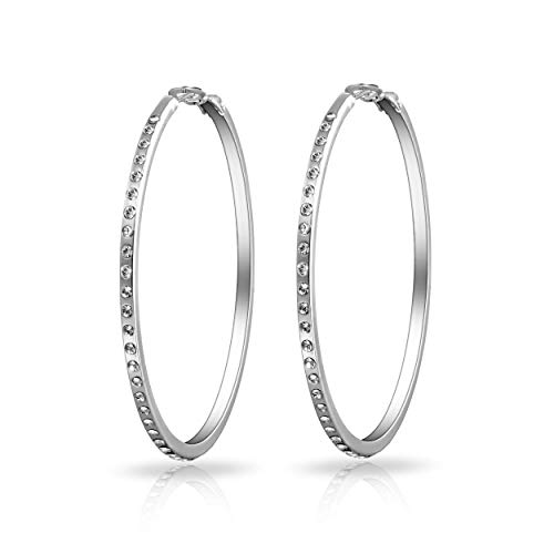 Silver 50mm Hoop Earrings Created with Austrian Crystals