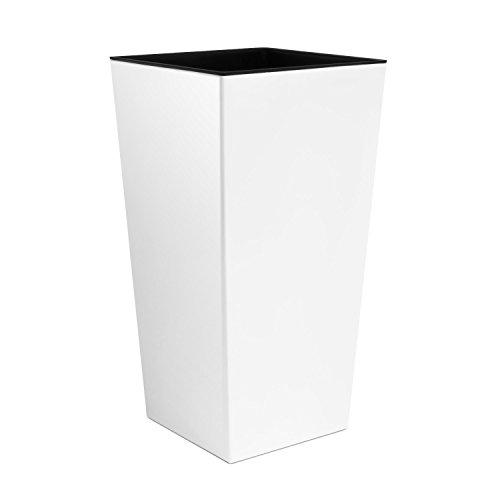 3x l tamaño Color Blanco Urbi 75cm de Altura florero de plástico con Interior Liner, 7Colores