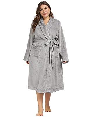 Hanna Nikole Women Plus Size Flannel Robe Shawl Collar Soft Plush Bathrobe