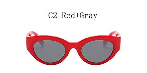 TYJYY Sunglasses Moda Cat Eye Sunglasses Marca Mujeres Vintage Pequeño Claro Azul Rosa Amarillo Cat Eye Gafas De Sol para Damas Uv400