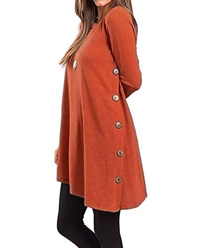 Herbst Frauen Crewneck Button Side Asymmetrischer Tunika Kleid Casual Langarm Bluse Kleid Orange S