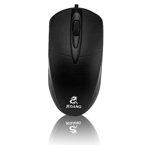 [Upgraded] Jeqang USB Wired Mouse for Laptop, Notebook and Desktop Computer- 3 Button, Silent and Ergonomic, Windows PC/Mac Compatible- 1600 DPI, Mice for Office, Home, Gaming