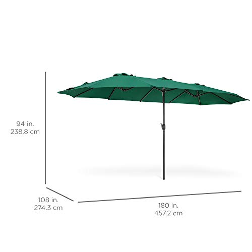 Best Choice Products 15x9ft Large Double-Sided Rectangular Outdoor Aluminum Twin Patio Market Umbrella w/Crank - Green