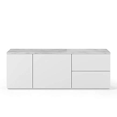 Buffets Design et élégants, Collection Join, signée TEMAHOME. - Join 160L2, Base Classique, Blanc Mat, Plateau en marbre Blanc