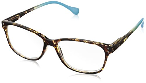 Peepers by PeeperSpecs Women's Nature Walk Rectangular Reading Glasses, Tortoise/Aqua, 49 mm + 1.75