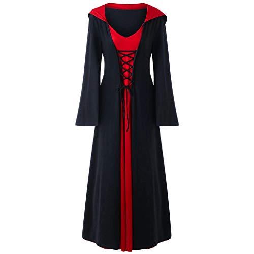 Oksea Damen Mittelalter Kleid Damen Langarm Mittelalter Kleid Hexenkostüm Umhänge Vampir Umhänge V Ausschnitt Gothic Viktorianischen Prinzessin Renaissance Bodenlanges Kapuzenkleid