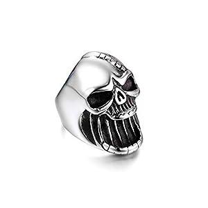 JewelryWe Schmuck Herren-Ring, Edelstahl Totenkopf Schädel Gothic Biker Flaschenöffner Ring, Silber, Größe 57