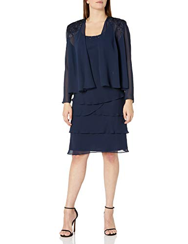 S.L. Fashions Women's Embellished Tiered Jacket Dress (Petite and Regular), Navy, 16 (Apparel)