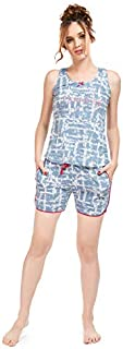 LOTIK Women's Cotton LT ORENGE& Grey & ICE Blue Printed Set Barmuda Set
