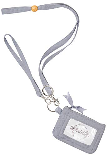 Wallet Lanyard Card ID DADABEE Zip ID Case, Mini Pouch,Wrist Key Chain,Fabric Wrist Key Chain, Gift for Women Lanyard,Credit Card Case Coins Purse with ID Window (Gray)