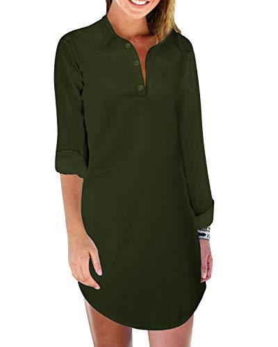 Zanzea Damen Badeanzug Strandbedeckung Shirt Badeanzug Bikini Beachwear Sommer Chiffon Tunika Top Bluse mit Tasche - Grün - 48